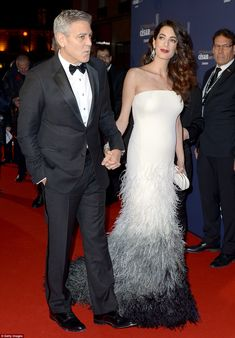 Hand in hand: The couple were rarely apart as they made their way across the red carpet...