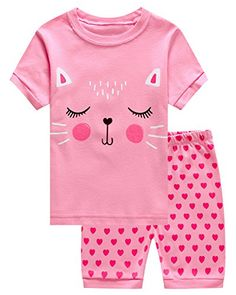 Baby Girl Clothes IF Pajamas Cat Summer Baby Girls Shorts Set Pajamas 100% Cotton Clothes Infant Kid Toddler 18-24 Months