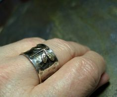 Sterling Silver Dragonfly Ring Wide Band  by LavenderCottage, $65.00
