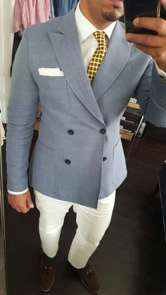 Labor Day Outfit #menstyle #labordaymenstyle #whitepants #whiteshirt #linenblazer #doublebreastedlinenblazer #menloafers #brownloafers #chocolatebrownloafers #suedeloafers #yellowsilktie
