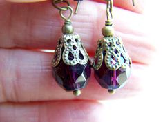 Purple Facet Glass Dangle Earrings Doodaba Purple Earrings, Dangle Earrings, Faceted Glass, Glass Beads, White Throw Pillows, Patchwork Pillow, Bead Caps, Vintage Halloween, Victorian Fashion
