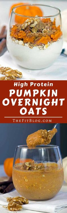 These High Protein Pumpkin Overnight Oats are a serving of yummy pumpkin and cinnamon goodness with enough protein to qualify as a healthy fitness breakfast or snack. The perfect fall recipe! High Protein Recipes, Protein Snacks, Healthy Breakfast Recipes, Healthy Snacks, Breakfast Ideas, Healthy Protein, Healthy Eating, Healthy Breakfasts, Healthy Recipes