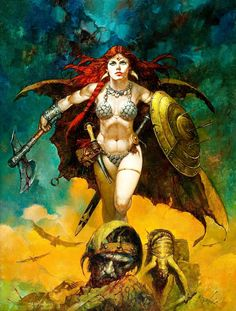 Red Sonja by Sanjulian (Manuel Perez Clemente)You can find Red sonja and more on our website.Red Sonja by Sanjulian (Manuel Perez Clemente) Red Sonja, Fantasy Women, Dark Fantasy, Comic Books Art, Comic Art, Comic Kunst, Conan The Barbarian, Sword And Sorcery, Warrior Girl