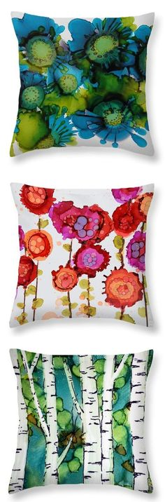 Decorative pillows with alcohol ink designs by Ink Art by Beth Kluth