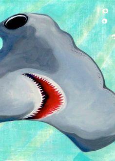 Hammerhead Shark Art Print of Original Painting Coastal Beach Surf Decor Beach Art Surf Baby Nursery Beach Nursery Decor Kids Room Decor via Etsy Shark Room, Shark Art, Surf Decor, Hammerhead Shark, Summer Art, Painting For Kids, Beach Art, Nursery Decor, Room Decor