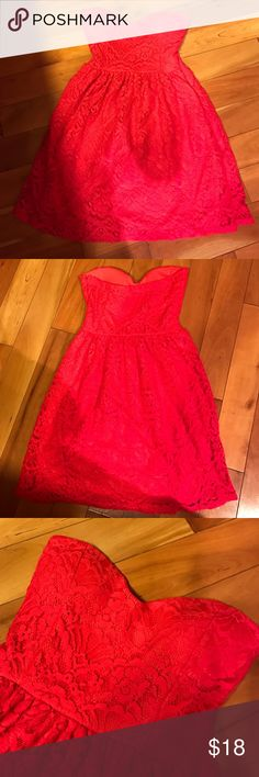 Delia's Strapless Dress Lace, strapless dress for a junior. Beautiful red color. Size XS junior. 70% cotton, 30% nylon. Used gently. Dresses Strapless
