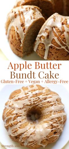 Gluten-Free Apple Butter Bundt Cake with Cinnamon Glaze that's vegan & allergy-free. Combining the deep and rich flavors of apple butter & seasonal spices. Gluten Free Sweets, Gluten Free Baking, Vegan Sweets, Vegan Gluten Free, Gluten Free Recipes, Vegan Recipes, Apple Recipes, Sweet Recipes, Cake Recipes