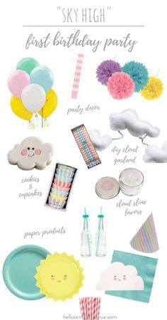 """""""Sky High"""" First Birthday Party Vision Board – Hello Central Avenue The cuteness on this first birthday party board is too much! My daughter's birthday was full of clouds, suns, colorful decor! Rainbow First Birthday, Colorful Birthday Party, 1st Birthday Party Themes, Mickey Birthday, Girl Birthday, Birthday Board, Birthday Ideas, Birthday Banners, Birthday Table"""