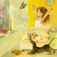 Просмотреть иллюстрацию Июнь из сообщества русскоязычных художников автора Любовь Лазарева в стилях: Книжная графика, нарисованная техниками: Смешанная техника.