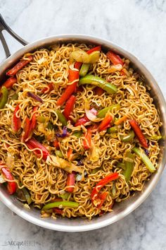 This Vegetable Lo Mein is made with 6 ingredients and packed with flavor! Easily customizable to your tastes and made it 20 minutes! With step by step recipe video below. Asian Recipes, Healthy Recipes, Ethnic Recipes, Chinese Recipes, Chinese Food, Vegetarian Recipes, Vegetable Lo Mein, The Recipe Rebel, Roasted Vegetable Recipes