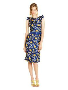 Watercolor Filigree Print Silk Twill Dress