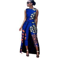 994c434cf5cc 2018 New Fashion Africa Cotton Print Romper African Bazin Riche Jumpsuit  For Women Dashiki Fitness Jumpsuit