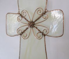 Stained Glass Cross with Copper wire filagree Christian Designed Cream colored neutral decor via Etsy