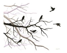 Original Watercolor Painting: Over There    A small flock of birds perch on misty silhouetted branches in this piece, all done in shades of