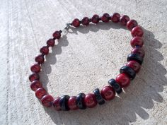 Dark Red & Black Glass Necklace