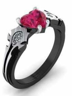 Gorgeous - obsidian band with ruby and diamonds