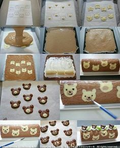 Food and Drink on Share Sunday Teddy Bear Cake Roll / Banana Cake Roll / Recipe in Japanese Japanese Roll Cake, Japanese Sweets, Striped Cake, Patterned Cake, Swiss Roll Cakes, Cake Roll Recipes, Decoration Patisserie, Cupcake Cakes, Cupcakes