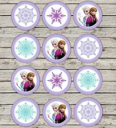 FROZEN Party Circles Cupcake Toppers 2 inch Thank you Tags Movie Birthday Party Theme Winter Snow Frozen Package Digital Download Instant on Etsy, $5.70 CAD