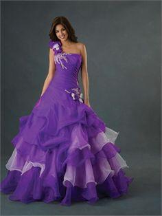 Ball Gown One Shoulder Straight Neckline Floor Length Organza Quinceanera Dress QD1127