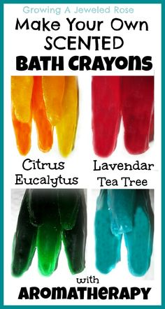 Homemade Scented Bath Crayons- To make Homemade Bath Crayons you will need: Glycerin soap Food coloring OR soap coloring Optional- essential oil or bath oil for scent