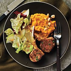 Rosemary Lamb Chops | MyRecipes.com  Now I made changes to the recipe - cooked the lamb as instructed and paired with mashed sweet potatoes with brown sugar, nutmeg, butter, a pinch of salt and for the salad a I did a spring mix with goat cheese, granny smith apple, Prosciutto, walnuts and a homemade balsamic vinaigrette. And believe it or not I did it last night and took all of 30 minutes to prepare everything. I love to cook!