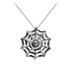 "SPIDER WEB PENDANT 	 A Symbol of mystery, power, protection and growth. Spider Web pendant necklace set in 18k white blackened gold with a mix of white and black brilliant diamonds. 16"" long. 0.52 carats. Our Price: $1,995.00"