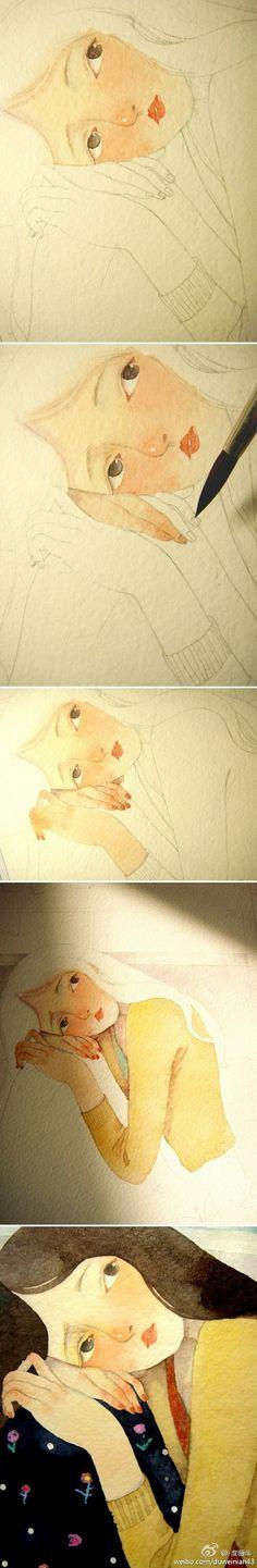 度薇年 温暖 水彩 插画 绘画教程