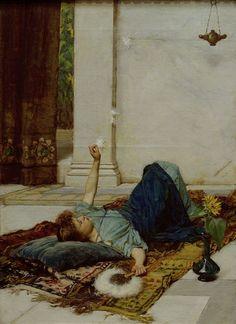 Dolce far Niente, 1879,  John William Waterhouse.  English Pre-Raphaelite Painter, (1849-1917)
