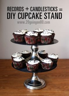 DIY cupcake stand, pretty clever, and makes retro records into something modern and usable!