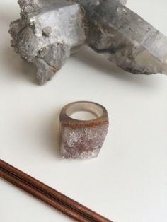 Carved Full Stone Agate Druzy Gem Medicine Ring Sz 7