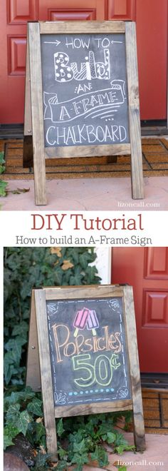 Jul 2019 - Diy Chalkboard Sandwich Board - Haven't you always wanted your own Sandwich board? Make your own A-Frame board with this step by step tutorial. Crafts For Teens To Make, Crafts To Sell, Easy Diy Crafts, Diy Craft Projects, Spring Crafts, Holiday Crafts, Do It Yourself Organization, Framed Chalkboard, Chalkboard Drawings