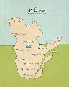 Quebec province of canada next province is nunavut geography i love you in quebec canada typographic print kids room nursery art map chart illustration digital print art poster sciox Gallery