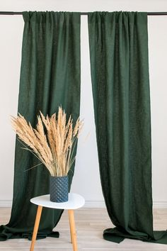 Dark green washed linen curtain panels with a rod pocket Color Block Curtains, Green Curtains, Panel Curtains, Curtain Panels, Sheer Linen Curtains, Beautiful Curtains, Custom Drapes, Window Panels, Rod Pocket