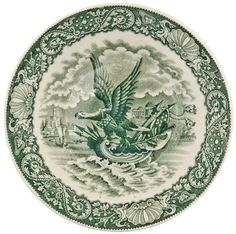"""American Eagle Riding on a Shell"" Pattern Tea Saucer. c. 1800s Federal Period, Pearlware Tea Bowl Saucer, England, Choice Extremely Fine.. This lovely 5.75"" diameter Tea Bowl Saucer is nicely decorat"