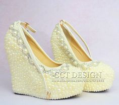 2015 New Fashion Wedding Wedges formal wedding shoes White Ivory Pearl Wedding Wedge High Heel platform Bridal wedge-in Pumps from Shoes on Aliexpress.com | Alibaba Group