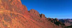 Glowing red mountains near the summit of Mount Sinai on the Sinai Peninsula in Egypt