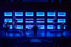 Really cool look - I like the transparency and glow with the coroplast panels. Stage Lighting Design, Stage Set Design, Church Stage Design, Strip Lighting, Led Panel Light, Valparaiso Indiana, Youth Decor, Diy Led, Christmas Service