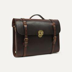 SCOTT, Leather satchel bag for men   Bleu de chauffe
