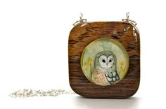 wooden owl necklace hand painted pendant spring by iamabird, $45.00