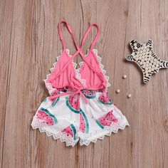 Baby Girl Watermelon romper baby clothes fashion stylish romper summer spring outfit - June 22 2019 at Cute Baby Girl Outfits, Girls Summer Outfits, Baby Girl Romper, Cute Baby Clothes, Baby Girl Newborn, Kids Outfits, Baby Girls, Baby Baby, Summer Clothes