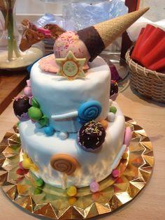 Patty's cake: TARTA DE CUMPLEAÑOS CON CARAMELOS Y HELADO DERRETIDO CON TUTORIAL DE CÓMO SE MONTA UNA TARTA DE DOS PISOS