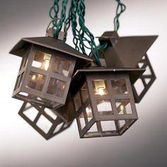 Mission Style Lantern String Lights (11.5' w/ 10 lanterns, green cord) $30