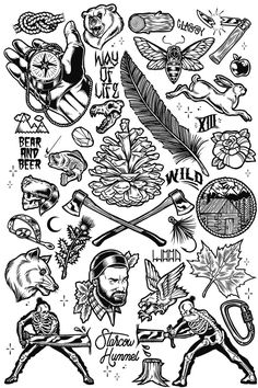 Illustration - illustration  - Woodland Tattoo Flash...   illustration :     – Picture :     – Description  Woodland Tattoo Flash  -Read More –