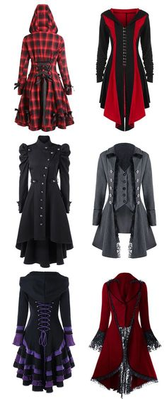 Three Gothic Fashion Tips That You Should Use Steampunk Fashion, Gothic Fashion, Kleidung Design, Plus Size Coats, Mode Inspiration, Womens Fashion Online, Mode Outfits, Coats For Women, Fashion Dresses