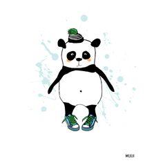 Panda illustration. For kids room. Kids decor. Muui.dk