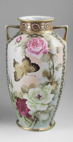 IMPERIAL NIPPON PORCELAIN VASE, Hand painted rose and butterfly design with gold and beading.