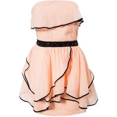 Aura Boutique Ruffle Bandeau Dress ($79) ❤ liked on Polyvore featuring dresses, vestidos, robes, short dresses, pink, party dresses, womens-fashion, pink pleated dress, pink mini dress and pink dress