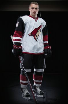 2015/16 Arizona Coyotes road uniforms. Max Domi, Phoenix Coyotes, Arizona Coyotes, Sports Uniforms, Sports Logo, Nhl, Motorcycle Jacket, Hockey, Boys