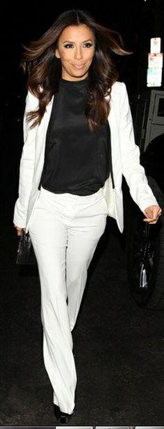 Who made Eva Longoria's white blazer and black satin pumps that she wore on September 17, 2012? Jacket – Balmain  Shoes – Brian Atwood