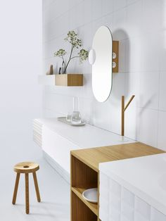 INGRID Bathroom design by Jean-François D'Or for VIKA. Modular system: Sinks | Storages | Mirrors | Light | Plug in | Towel holder | Shelves | Trays | Hook. Solid surface | Porcelain | Oak | Leather. Available at VAN MARCKE and others distributors. Pictures © Lenzer Photographers. Loudordesign studio. Industrial design, Brussels, Belgium. http://www.loudordesign.be/en/products/ingrid_bathroom/